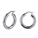 Amante Sterling Silver Plain 20mm Hoop Earrings