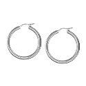 Amante Sterling Silver Plain 15mm Hoop Earrings