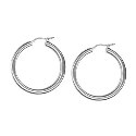 Amante 18ct White Gold Plain 20mm Hoop Earrings
