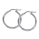 Amante Sterling Silver Twist 20mm Hoop Earrings