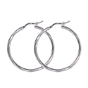 Amante Sterling Silver 50mm Twist Hoop Earrings