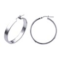 Amante Sterling Silver Medium Italian Flat Hoop Earrings