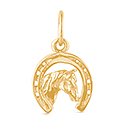 9ct Gold Horseshoe and Horse Head Charm