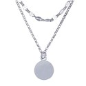 Amante Sterling Silver Italian Crafted Double Strand Necklet with Disc Pendant