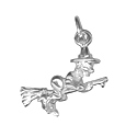 Sterling Silver Witch on Broomstick Charm Pendant