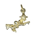 9ct Gold Witch on Broomstick Charm Pendant