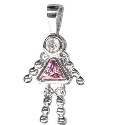 Sterling Silver Pink CZ Gem Baby Charm Pendant