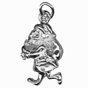 Amante Sterling Silver Solid Santa Claus Charm Pendant