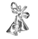 Amante Solid Sterling Silver Wedding Bells And Bow Charm Pendant