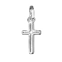 Sterling Silver Small Flat Plain Cross Pendant With Border Line