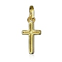 9ct Gold Small Flat Plain Cross Pendant With Border Line