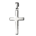 9ct White Gold Large Plain Flat Cross Pendant