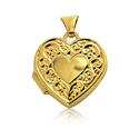 9ct Gold Heart Locket with Embossed Border