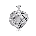 Sterling Silver Heart Locket with Heart Embossed Border