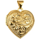 9ct Gold Domed Double Sided Scroll Heart Locket