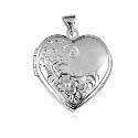 Sterling Silver Domed Heart Locket with Two Flowers