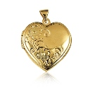 9ct Gold Domed Heart Locket with Scrolled Flowers - 21mm