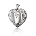 Sterling Silver Heart Locket with Scalloped Border
