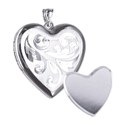 Sterling Silver Scroll Patterned I Photo Memorial Heart Locket -24mm