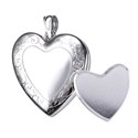 Amante Sterling Silver I Photo Memorial Heart Locket with Engraved Border -24mm