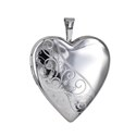 Amante Sterling Silver Polished and Patterned Heart Locket