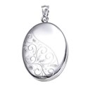 Amante Sterling Silver Half Polished and Patterned Oval Locket