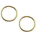 9ct gold solid plain large sleeper earrings 14mm
