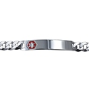 Amante Sterling Silver Diamond Cut Bevelled Curb Medical ID Bracelet -23cm