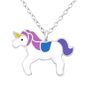 Amante Sterling Silver Purple and Blue Enamel Unicorn Pendant with Necklace