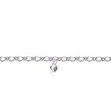 Amante Sterling Silver Oval Figaro Anklet with Sterling Silver Heart Charm Drop -25cm