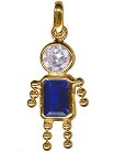 9ct Gold Blue Crystal Gem Baby Boy Charm Pendant