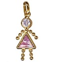 9ct Gold Pink Girl Gem Baby Charm Pendant