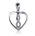 Amante Sterling Silver Sparkling Swarovski Crystal Infinity Heart Pendant