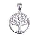 Amante Sterling Silver Swarovski Crystal Tree of Life Pendant