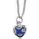 Sterling Silver Children's Bluebird Heart Pendant with Silver Necklace-45cm
