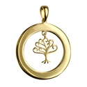 Amante 9ct Gold Tree of life Plain Open Circle Engraving Disc Pendant
