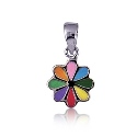 Amante Sterling Silver Multi Coloured Enamel Flower Pendant