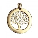 Amante 9ct Yellow Gold Tree of Life Circular Engraving Disc Pendant