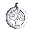 Amante Sterling Silver  Tree of Life Circular Engraving Disc Pendant