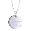 Amante Sterling Silver Gemini Constellation Disc Pendant with Necklace