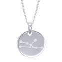 Amante Sterling Silver Taurus Constellation Disc Pendant with Necklace