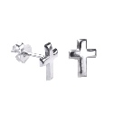 Sterling Silver Plain Cross Stud Earrings