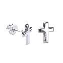 Sterling Silver Plain Cross Stud Earrings