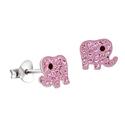 Amante Sterling Silver Pink Swarovski Crystal Elephant Stud Earrings