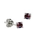 Sterling Silver January Claw Set Birthstone Stud Earrings