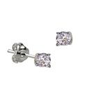 Sterling Silver April Birthstone Stud Earrings