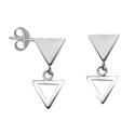 Amante Sterling Silver Triangle Drop Stud Earrings