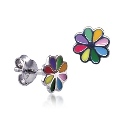 Amante Sterling Silver Multi Coloured Enamel Flower Stud Earrings