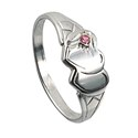 Amante Sterling Silver Double Heart Signet Ring with a Pink Swarovski Crystal