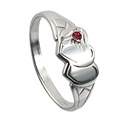 Amante Sterling Silver Double Heart Signet Ring with a Ruby